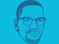Malcolm X #malcolm #monotone #illustration #x #blue