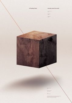 A floating cube once secretly ruled the world. on the Behance Network #line #floating #minimal #poster #diagonal #cube