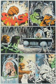 Paddle8: The Hulk and The Ting - Bernie Wrightson #hulk #ink #incredible #panel #the #comic #vintage #pen #marvel #paper