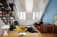 Parisian Attic Apartment Renovated with Steel and OSB Wood