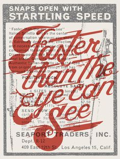 Faster Than The Eye Can See #script #drawn #custom #type #hand #typography