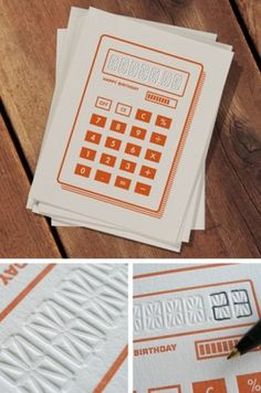fyeahletterpress #print #orange #letterpress #calculator #pen #type #paper