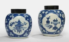Two underglaze blue decorated ginger pots made of porcelain with antique #Sets #Teasets #Porcelainsets #Antiqueplates #Plates #Wallplates #Figures #Porcelainfigurines #porcelain