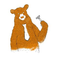 Monday by Tobe_Fonseca #illustration #bear #shave #razor #animal #fur #hair #hairy #humour #morning #art