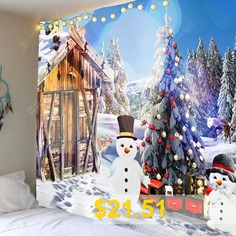 Christmas #Snow #House #and #Snowman #Printed #Wall #Tapestry #- #COLORFUL
