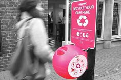 Keep #streets free of unsightly #gum splotches with the Gumdrop Bin. Not only does it reduce chewing gum #litter, but it's made from recycle