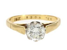 Ring: vintage diamond/solitaire ring with a beautiful old European cut diamond 0,91 ct