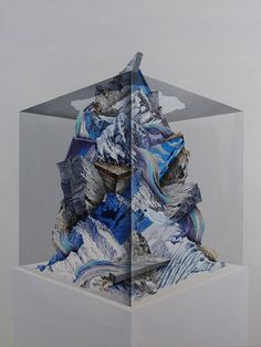but does it float #abstract #mountain #ground #supernatural #tree #dali #unrealistic #painting #ice #drawing #cube