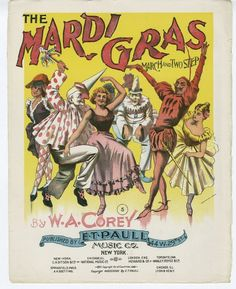 Vintage Ephemera: Sheet music cover, The Mardi Gras -1897 #poster