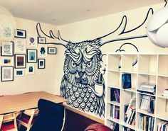 Angry owl stag doodle at Billies yesterday (http://www.bcl.co.uk) more to come v soon. T x #illustration #mural #timminess
