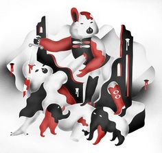 villesavimaa.com #blood #savimaa #ville #white #red #black #illustration #fight #knife #characters