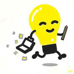 ideas salesman #bulb #happy #print #yellow #black #illustration #idea #lightbulb #pencil