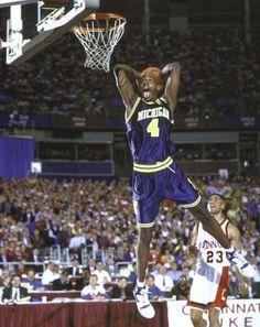 tumblr_m0xm853Ieg1qm9rypo1_500.jpg (JPEG Image, 500×628 pixels) #chris #michigan #yellow #dunk #sports #purple #slam #webber #basketball