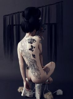 Magalia, Louise Bruun #hair #tattoo #photography #geisha #fashion