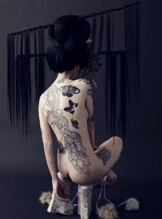 Magalia, Louise Bruun #hair #tattoo #photography #geisha #fashion