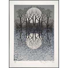 radiohead, music, band, trees, nature, screenprint, black and white