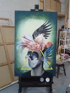 Mother Bird -Painting -Acrylic on canvas, 90x140�cm