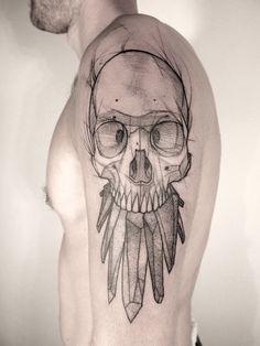 #ink #skull #feathers #tattoo #geometric #sketch #dotwork by Jan Mraz