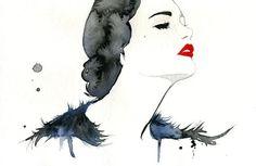 Watercolor Fashion Illustration Girl Gone Gatsby print #acuarela #illustration #watercolor #woman