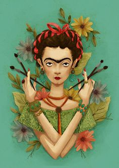 "Frida Kahlo by THIAGO LIMÃ""N @Instand #art #frida #lllustration"