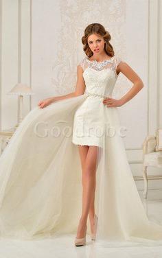 Robe de mariée naturel maillot decoration en fleur longueur au ras du sol en dentelle