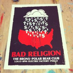 3 color poster for Bad Religion on 19x25 paper. Silver, Red, and Black. I jump on the opportunity to make art for The Bronx, those dudes are #ralph #stollenwerk