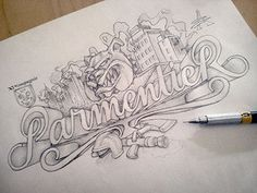 Parmentier sketch #drawn #hand #typography