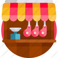 See more icon inspiration related to shop, butcher shop, food and restaurant, commerce and shopping, ham, butcher, architecture, pork, commerce, meat and food on Flaticon.