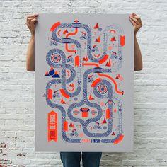 made by david boon - cycling board game - screenprinting - 2 colors