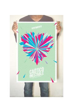 Chaotic, Unstable. on Behance #heart #dynamic #explosion #amor #print #design #color #full #poster #love