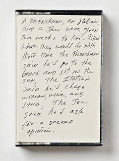 Richard Prince #cassette #hand-lettering #cover #jokes #typography