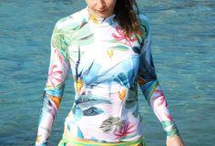Image of Surf long sleeve rashguard KFKS #surfing #surf #swim #palms #tropical #island