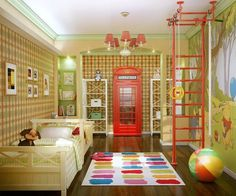 Artistic decor in child bedroom with paintings