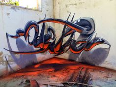 crazy glowing red and grey lettering, graffiti by odeith #graffiti #portugal #paint #art #street #spray #3d