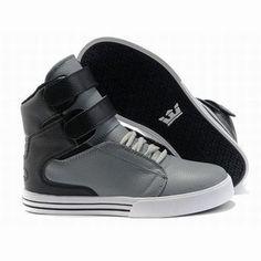 men high top grey black supra tk society skate shoes