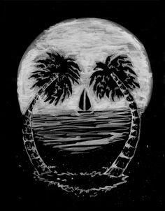 https://m1.behance.net/rendition/modules/99281177/disp/ac8e6c56cc04a08395c1aa82c4fa7ed2.jpg #skull #palms #paradise #landscape