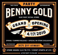 FFFFOUND! | ILOVEDUST x Benny Gold – Store Opening Collaborative T-Shirt | FreshnessMag.com #flyer #design #benny #gold #logo