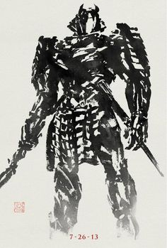 Poster: The Wolverine's Silver Samurai | News | Dark Horizons #illustration #black and white #wolverine #ink #painting #samurai #brush #stro