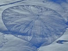Land art by Simon Beck #3d #his #france #each #pai #snow #is #there #the #it #creating #and #art #when #artis #winter