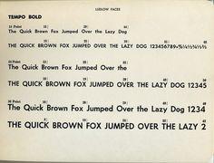 Tempo Bold type specimen #type #ludlow #specimen