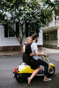 Tumblr #vespa #yellow #couple #scooter