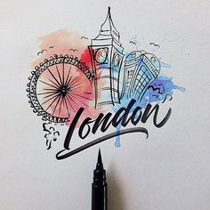 Cities around the world with a Brushpen by David Milan