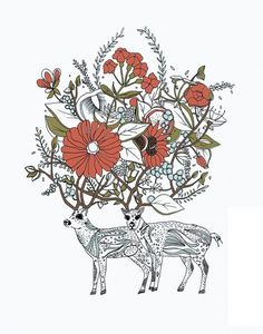 Illustration by Meeralee I Art Sponge #antlers #meeralee #elks #illustration #flower