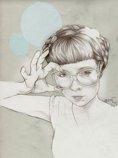 Martine Johanna #glasses #coloring #graphite #digital #illustration #paper #pastel