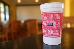 Sanctuary Printshop » Bacon branded cups #texas #austin #type #bacon #typography