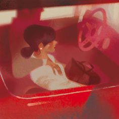 annette marnat #girl #illustration #red #car