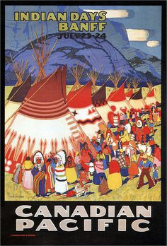 W. Langdon Kihn. Indian Days Banff. 1930 #illustration #travel #vintage #poster