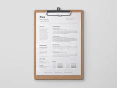 Alex Resume Template - Free MS Word Resume Template with Cover letter Page