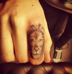 50 Examples of Lion Tattoo #finger #tattoo #lion