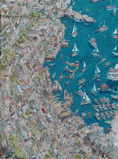 Falmouth Illustrated by Charlie Davis #dock #town #boat